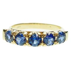 Antique Blue Sapphire Five Stone Gold Ring
