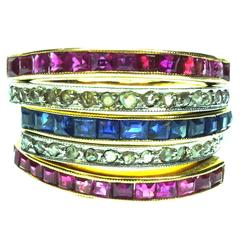 Antique Ruby Sapphire and Diamond Yellow Gold Bands Set of 5