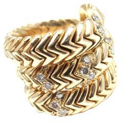 Bulgari Diamond Gold Spiga Snake Band Ring