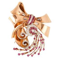 Ruby Diamond Gold Bow Brooch