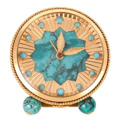 Van Cleef & Arpels Turquoise Desk Clock with Alarm