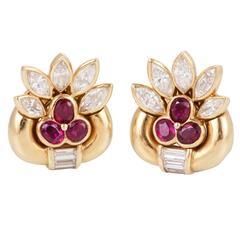 Ruby Diamond gold Earclips