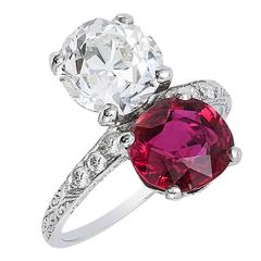 Ruby Diamond Toi-et-Moi Ring