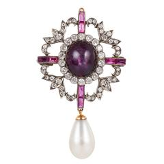 Natural Pearl Star Ruby Diamond Brooch