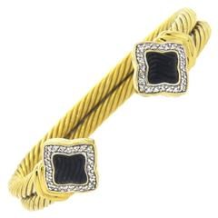 David Yurman Quatrefoil Onyx diamond gold Cable Cuff Bracelet
