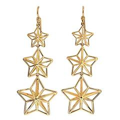 Gold Star Dangle Earrings with French Wire