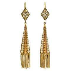 Victorian Natural Pearl Gold Fringe Earrings