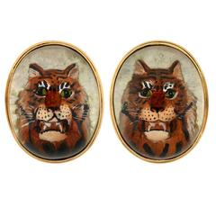 Victorian Reverse Carved Rock Crystal Tiger Cufflinks