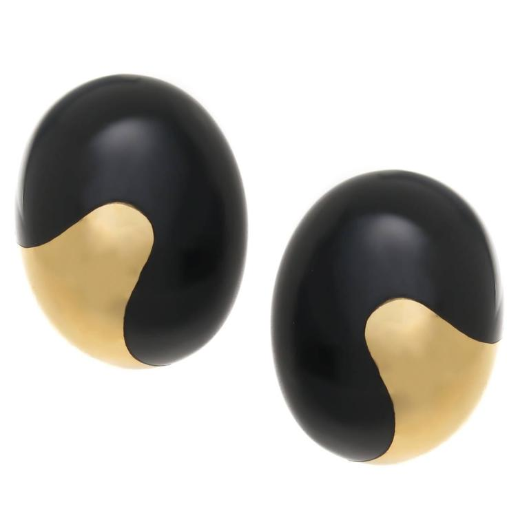 Tiffany & Co. Angela Cummings onyx Gold Earrings