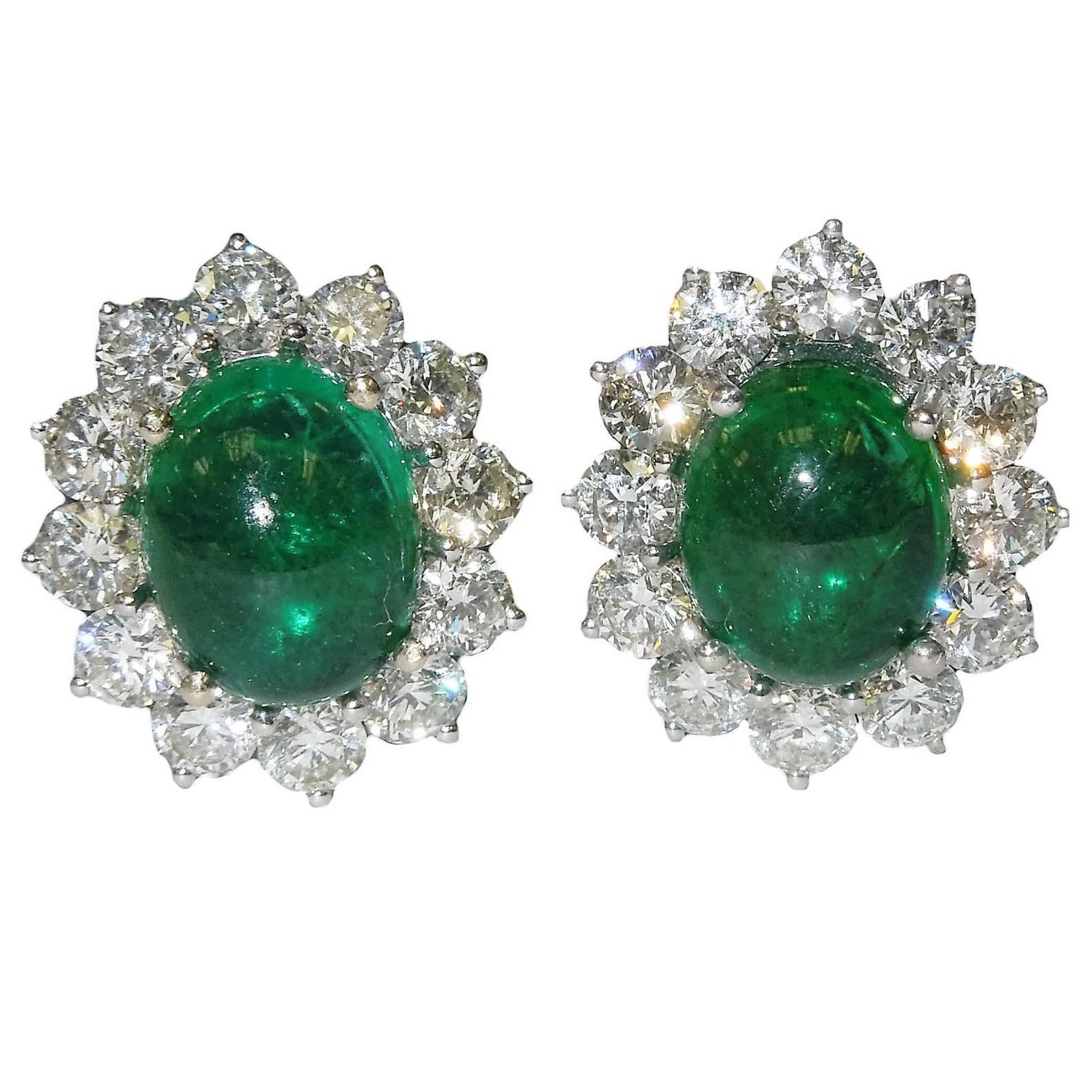 cabochon emerald gold earrings at 1stdibs