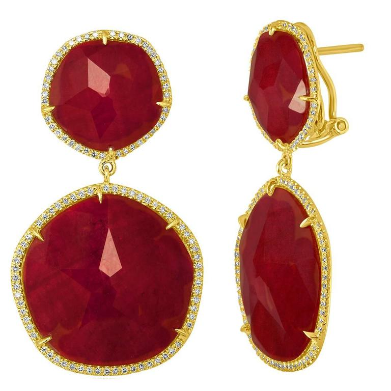 Doublet 41.00 Carats Rock Crystal Ruby Diamond Gold Dangle Earrings 1