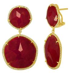Doublet 41.00 Carats Rock Crystal Ruby Diamond Gold Dangle Earrings