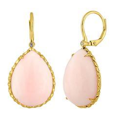 Pink Tear Drop 24.30 Carats Opal Diamond Gold Earrings