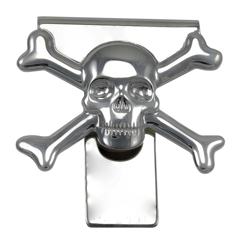 Christofle Sterling Skull and Crossbones Money Clip