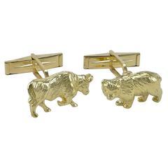 Bull & Bear Gold Cufflinks