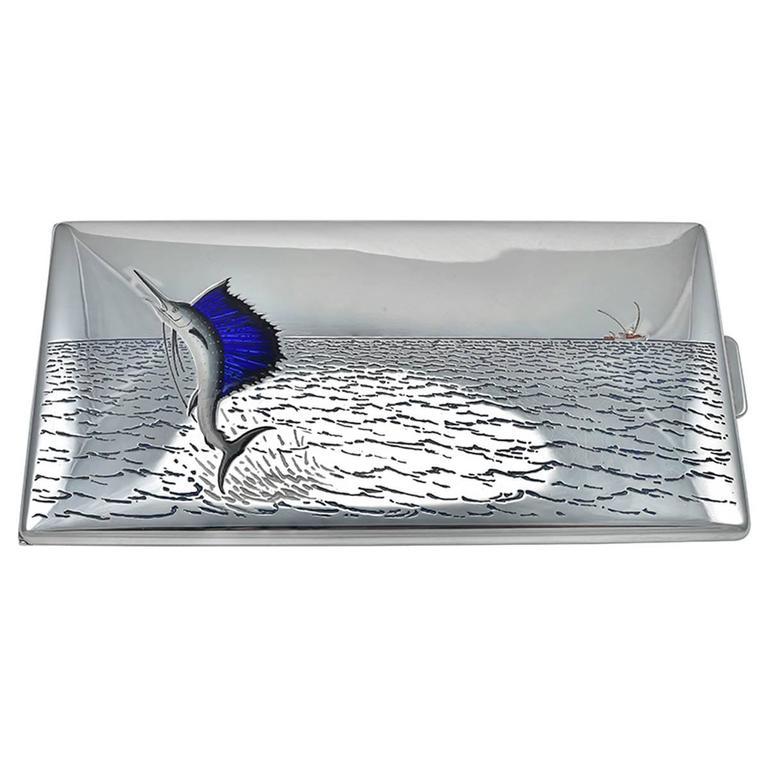 TIFFANY & CO. Large Sterling & Enamel Fish Cigarette Box