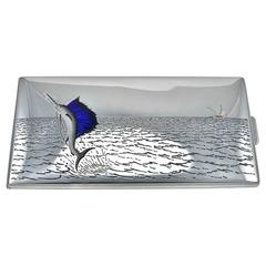 TIFFANY & CO. Large Sterling & Enamel Fish Cigarette Box