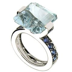 Blue Aquamarine Sapphires White Gold Modern Cocktail Ring