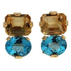 Citrine Blue Topaz Gold Clip Earrings