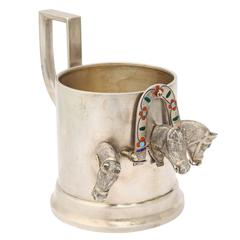 Morozov Silver Troika Tea Glass Holder St. Petersburg