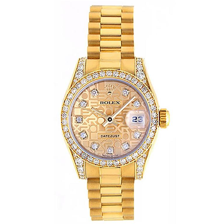 Ladies Rolex President Gold & Diamond Watch 179158 1