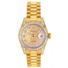 Ladies Rolex President Gold & Diamond Watch 179158