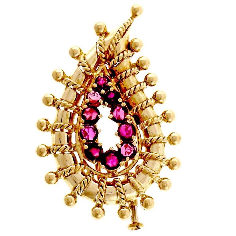 Tiffany & Co. Ruby Gold Pin