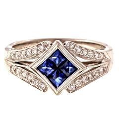 Simon G Sapphire Diamond Gold engagement Ring
