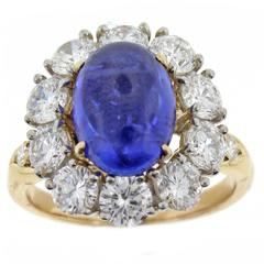 Van Cleef and Arpels Sapphire Diamond gold platinum cluster Ring