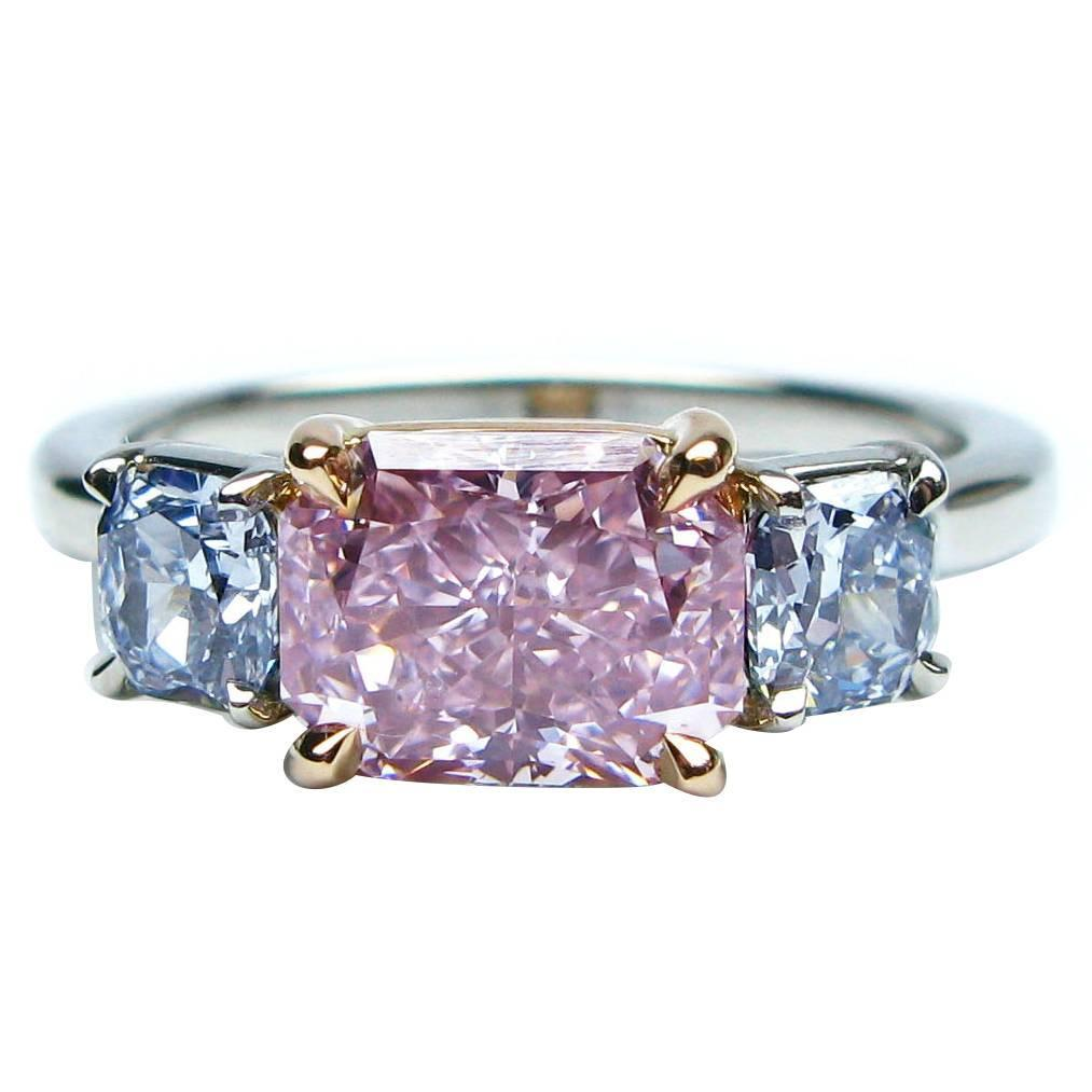 2 09 Carat Natural Fancy Color Diamond Three Stone Ring At