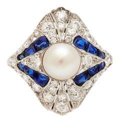 Art Deco Natural Pearl Diamond Sapphire Ring