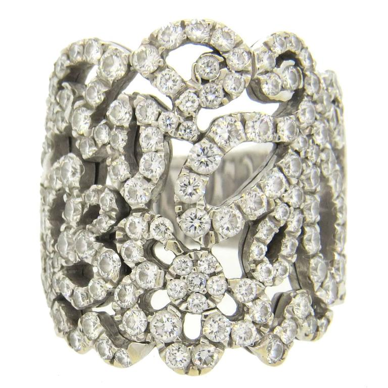 De Beers Diamond Gold Wide Band Ring at 1stdibs