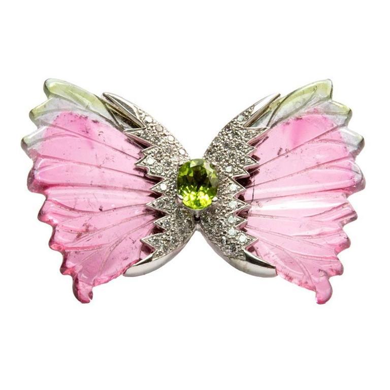 Watermelon Tourmaline Diamond Gold Butterfly Runway Brooch Pin 1