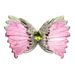 Watermelon Tourmaline Diamond Gold Butterfly Brooch Pin Estate Fine Jewelry