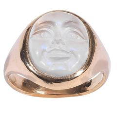 Carved Moonstone Man in the Moon Ring