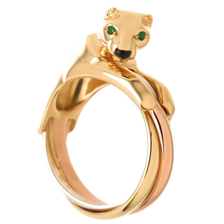 Cartier Tricolor Gold Trinity Panther Ring For Sale