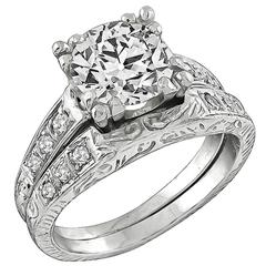 Antique Diamond platinum Engagement Ring and Wedding Band Set
