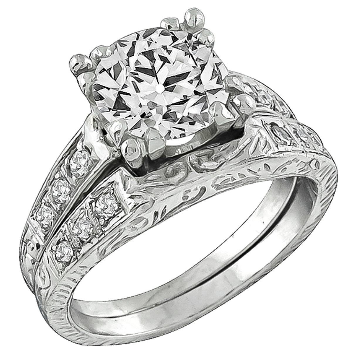 Antique Engagement Rings For Sale: Antique Diamond Platinum Engagement Ring And Wedding Band