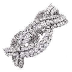 1940s Diamond Wide Platinum Bracelet