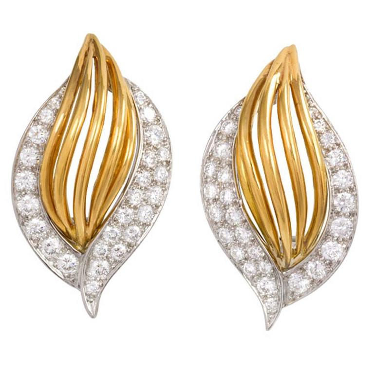 Oscar Heyman Diamond Gold Clip Earrings 1