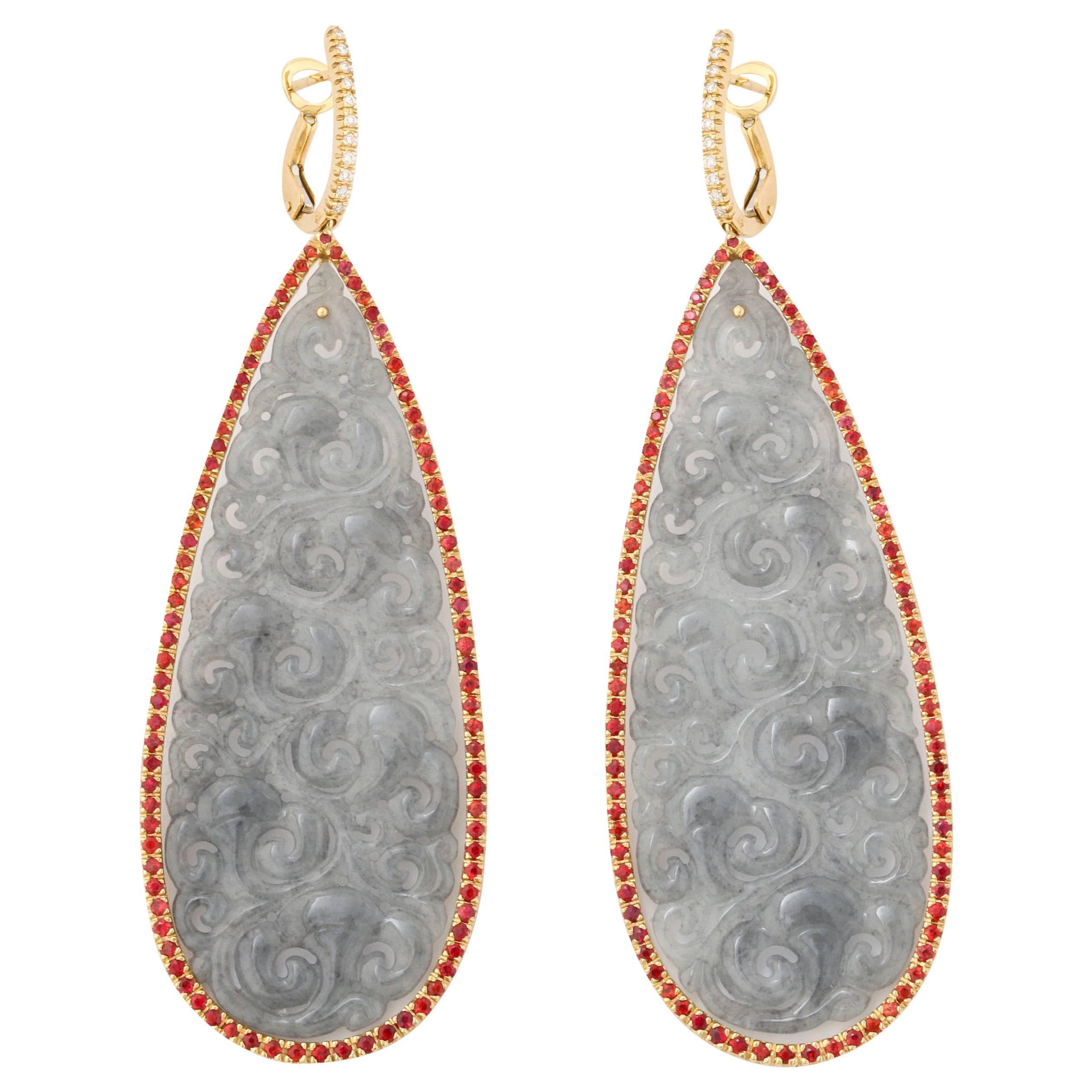 Michael Kanners One of a Kind Gray Jade Sapphire Diamond Gold Drop Earrings