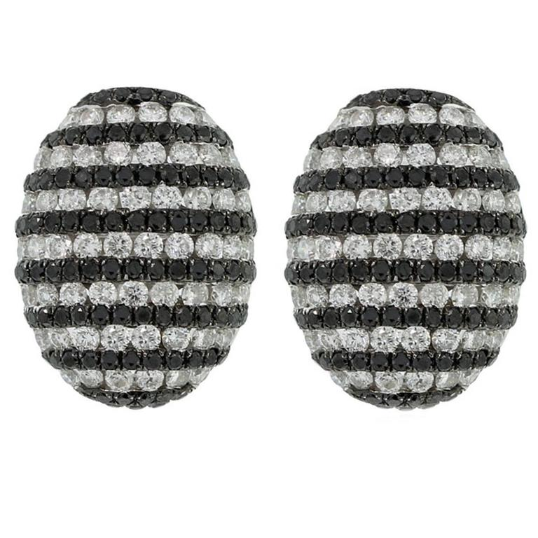 Black and White Diamond Pave Gold Button Earrings For Sale