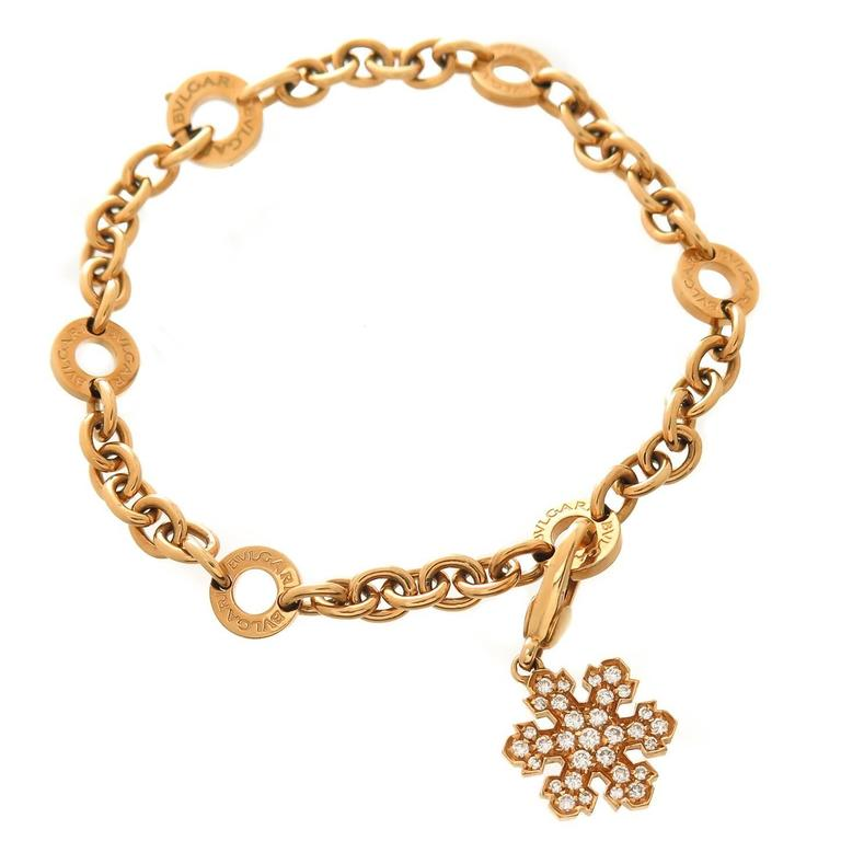 Bulgari Gold Bracelet with Diamond Snowflake Charm 1
