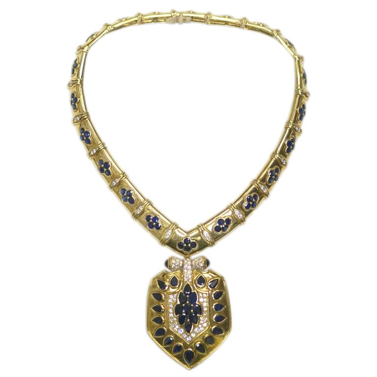 Bulgari 1960 Rare sapphire diamond gold Shield drop Necklace  1