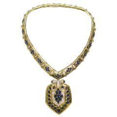 Bulgari 1960 Rare sapphire diamond gold Shield drop Necklace