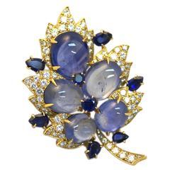 Rare Bulgari Sapphire Diamond Foliate Brooch