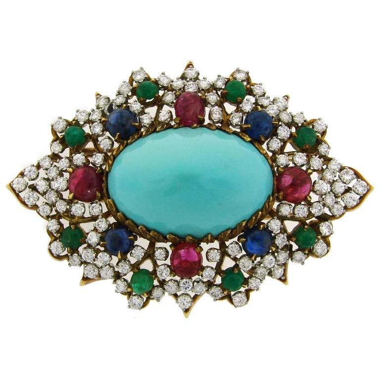 1970s Turquoise Diamond Gem Stone Gold Brooch Pin For Sale