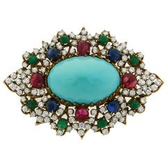 1970s Turquoise Diamond Gem Stone Gold Brooch Pin