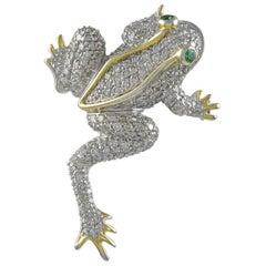 Brilliant Diamond Gold Frog Pin Pendant