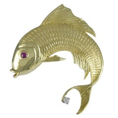Gemset Gold Fish Brooch by Cellino